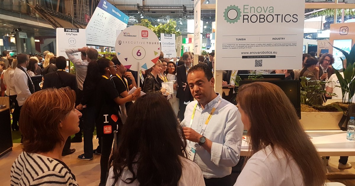 Enova Robotics founder Anis Sahbani during a robotics event in Tunisia