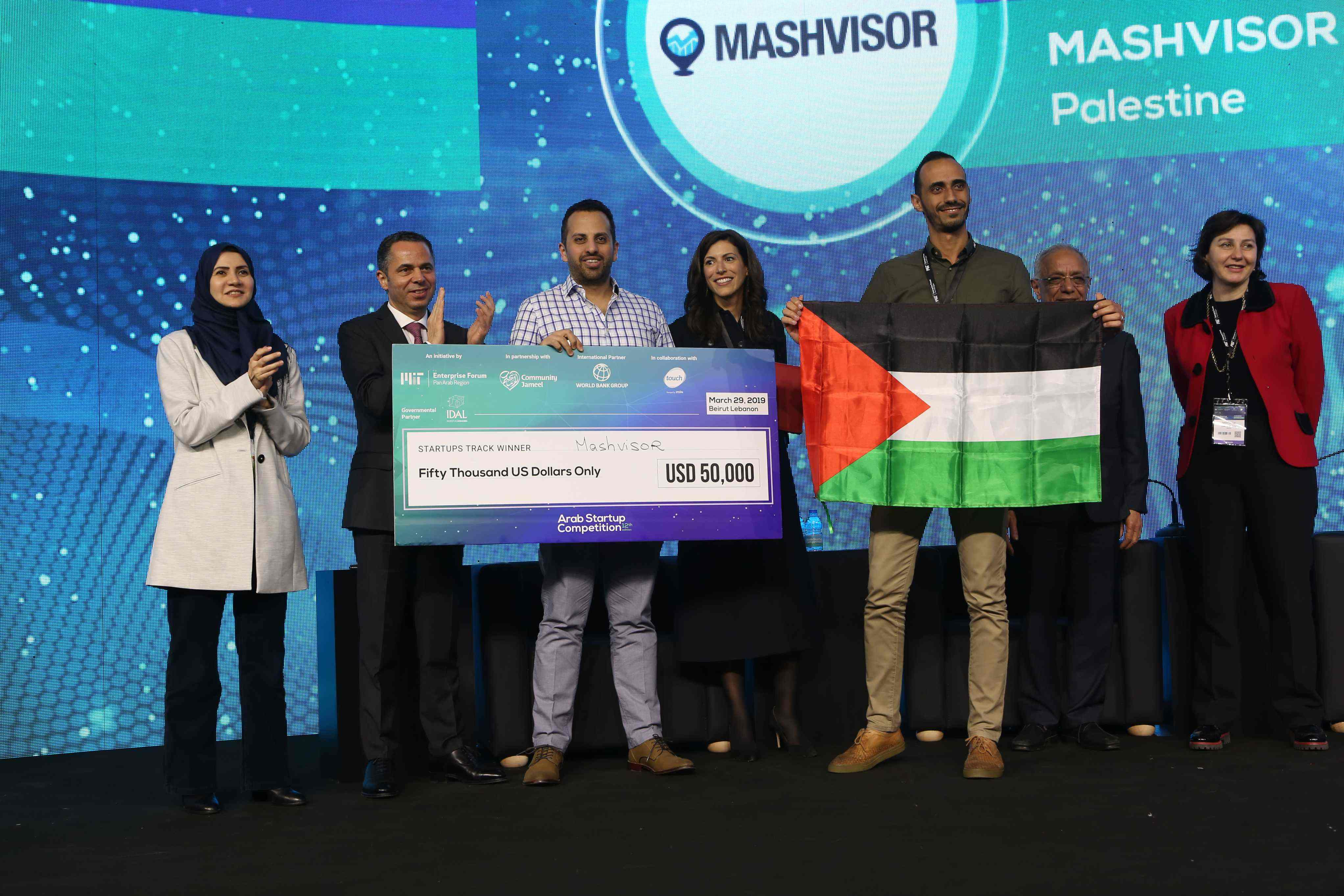 Mashvisor team accepting their prize during the award ceremony and conference of the 12th edition of MITEF's Arab Startup Competition